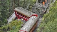 Derailed passenger train near Tiefencastel, Switzerland