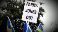 Protest against Bryn Parry-Jones