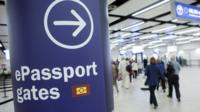 e-passport sign in an airport