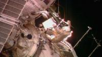 Cosmonaut embarks on spacewalk