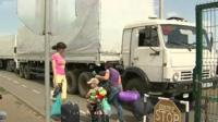Trucks cross border into Ukraine