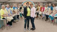 Sue Perkins and Mel Giedroyc with this year's Great British Bake Off contestants