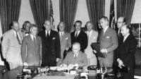 Nato treaty being signed in 1949
