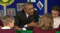 President Obama in the class