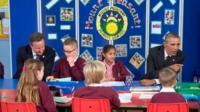 David Cameron and Barack Obama at Mount Pleasant Primary School, Newport