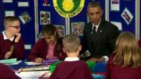 US President Barack Obama at Mount Pleasant Primary School