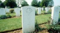 The graves soldiers who died in WWII