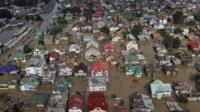 An aerial view showing buildings partially submerged in Srinagar, Indian-controlled Kashmir, Thursday, Sept. 11, 2014