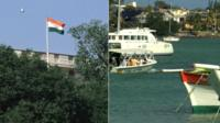 Indian flag in New Delhi (l) and Mauritius (r)