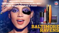 Altered CoverGirl ad shows woman with a black eye