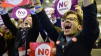 """Better Together"" supporters celebrate the result of the Scottish referendum on independence at the count centre for the Scottish referendum at Ingleston Hall on September 19, 2014 in Edinburgh, Scotland"