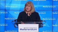 Chief counting officer Mary Pitcaithly announces the final verdict of the Scottish independence referendum.