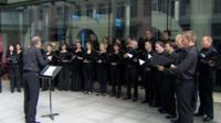 Choir singing outside BBC