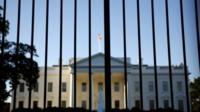 The White House seen through gates