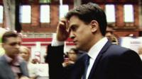 Ed Miliband looking tense