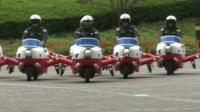 The plane-shaped scooters in formation