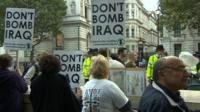 Anti-war protestors outside Downing Street