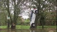 Car in tree after flash flood in Montpellier, France
