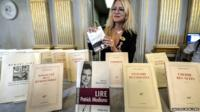 Books by Patrick Modiano on display after Nobel Literature Prize announcement