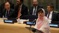Malala Yousafzai speaks before the United Nations Youth Assembly at UN