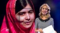 Hayley with photo of Malala