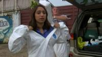 Tulip Mazumdar puts on protective clothing