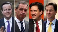 David Cameron, Nigel Farage, Ed Miliband and Nick Clegg