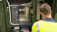 BT worker at broadband exchange