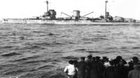 German fleet surrenders to Admiral Beatty in Scapa Flow during World War One