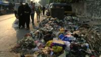 Pile of rubbish on a street in Mumbai