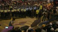 Police and protestors in Mong Kok