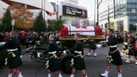 Soldiers escort the coffin of Cpl Nathan Cirillo