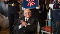 British Sir Nicholas Winton (C) receives the Order of the White Lion from Czech President Milos Zeman at Prague Castle in Prague