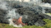 The lava flow from the Kilauea Volcano is seen in a U.S. Geological Survey (USGS) image taken near the village of Pahoa, Hawaii, at 10:00HST (20:00GMT) October 26, 2014