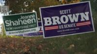 Posters for Jeanne Shaheen and Scott Brown