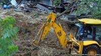 Bulldozer used during rescue operations