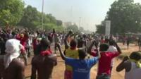 Protesters on the streets of Ouagadougou