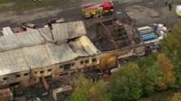 The burnt out remains of the fireworks warehouse in Stafford