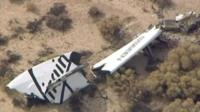 Wreckage from Virgin Galactic's SpaceShipTwo in the Mojave desert