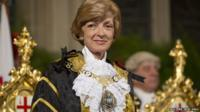 Still of Fiona Woolf in ceremonial robes of Lord Mayor of London