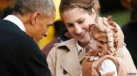 President Obama meeting child in costume
