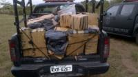 Handout picture released from Rio de Janeiro State's Military Police on November 6, 2014 showing one ton of drug seizure