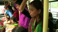 Afiya Khalid on a bus in India