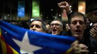 Pro-independence supporters celebrate the results of the informal poll