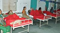 Indian women who underwent sterilization surgeries receive treatment at the CIMS hospital in Bilaspur