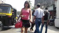 Lady walking in India