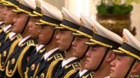 Chinese Guard of Honour at welcome ceremony for President Obama in Beijing