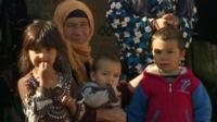 Syrian refugees at a camp in Lebanon