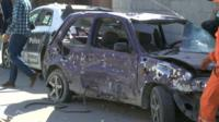 A bomb-wrecked Nissan Micra