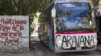 One of the buses embarks on the tour from Ayotzinapa